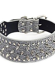cheap -Dog Collar Studded Rivet PU Leather Light Brown Leopard Dark Brown