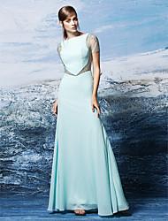 cheap -Sheath / Column Formal Evening Dress Bateau Neck Short Sleeve Floor Length Chiffon with Crystals 2021