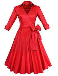 cheap -Women's Party Vintage A Line Dress - Solid Colored Ruffle V Neck Spring Cotton Black Red