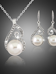 cheap -Pearl Jewelry Set Pendant Necklace Ladies Party Pearl Cubic Zirconia Silver Plated Earrings Jewelry White For Wedding Masquerade Engagement Party Prom Promise / Imitation Diamond
