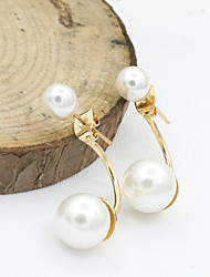cheap -Women's Crystal Stud Earrings Drop Earrings European Fashion 18K Gold Plated Pearl Imitation Pearl Earrings Jewelry Silver / Golden For / Imitation Diamond / Rhinestone / Austria Crystal