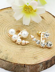 cheap -Women's Crystal Stud Earrings Jacket Earrings Ladies European Fashion 18K Gold Plated Pearl Imitation Pearl Earrings Jewelry Gold / Silver / Rose Gold For / Imitation Diamond / Rhinestone