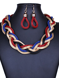 cheap -Women's Drop Earrings Statement Necklace Twisted Interwoven Necklace Statement Ladies Vintage Alloy Black Purple Red Blue Gold 42 cm Necklace Jewelry 1pc For Party Special Occasion Congratulations