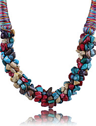 cheap -Women's Crystal Statement Necklace uncut diamond Statement Ladies Synthetic Gemstones Alloy Rainbow Black Red Blue Necklace Jewelry For Party