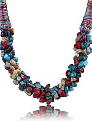 Недорогие -Жен. Кристалл Заявление ожерелья необработанный алмаз Массивный Дамы Синтетические драгоценные камни Сплав Красный Синий Радужный Ожерелье Бижутерия Назначение Для вечеринок