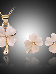 cheap -Crystal Jewelry Set Stud Earrings Pendant Necklace Cross Clover Ladies Party Fashion Cubic Zirconia Opal Rose Gold Plated Earrings Jewelry Gold For Party Special Occasion Anniversary Birthday