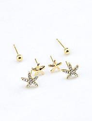 cheap -Women's Crystal Stud Earrings Starfish Ladies European Fashion 18K Gold Plated Rhinestone Gold Plated Earrings Jewelry Gold For / Imitation Diamond / Austria Crystal