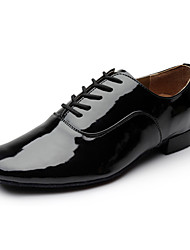 cheap -Men's Modern Shoes Ballroom Shoes Salsa Shoes Line Dance Heel Lace-up Low Heel Black White Lace-up