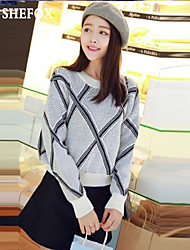 cheap -Women's Check Long Sleeve Short Pullover Sweater Jumper, Round Neck Winter Cotton Black / Yellow / Pink One-Size