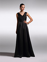 cheap -A-Line V Neck Floor Length Satin Open Back Cocktail Party / Prom / Formal Evening Dress 2020 with Criss Cross