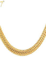 cheap -Men's Chains Necklace Foxtail chain Dookie Chain Ladies Party Work Casual Rose Gold Platinum Plated Gold Plated Rose Gold Gold Silver Necklace Jewelry For Daily / Rose Gold Plated