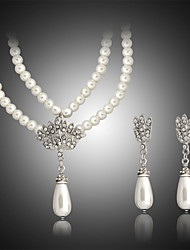 cheap -Women's Pearl Jewelry Set Double Ladies Pearl Earrings Jewelry White For Wedding Party Birthday Engagement Gift Daily / Necklace
