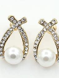 cheap -Women's Crystal Stud Earrings Ladies European Fashion 18K Gold Plated Pearl Imitation Pearl Earrings Jewelry Gold For Wedding Masquerade Engagement Party Prom Promise / Imitation Diamond / Rhinestone