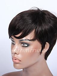abordables -Cheveux humains Perruque Droit Droite Fabriqué à la machine Marron foncé 15 CM