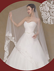 cheap -One-tier Lace Applique Edge Wedding Veil Cathedral Veils with Embroidery Lace / Tulle / Angel cut / Waterfall