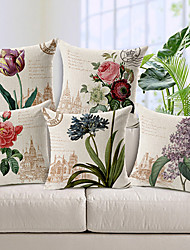 cheap -Set of 5 Cotton / Linen Pillow Cover, Floral Country Throw Pillow