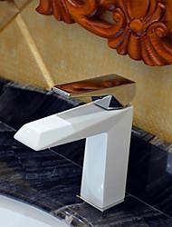 cheap -Art Deco/Retro Widespread Ceramic Valve One Hole Single Handle One Hole Painting, Bathroom Sink Faucet