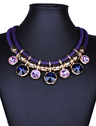 cheap -Women's Crystal Statement Necklace Bib Round Cut Statement Ladies Vintage Fashion Synthetic Gemstones Crystal Black Purple Red Blue Necklace Jewelry For Party Special Occasion Birthday
