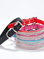 cheap -Cat Dog Collar Adjustable / Retractable Handmade Heart Mosaic Rhinestone PU Leather Red Green Blue