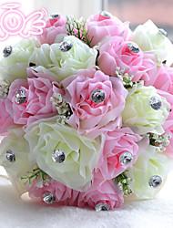 """Недорогие -Свадебные цветы Букеты Свадьба Бусины / Полиэстер / пена 11,02""""(около 28см)"""