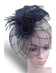 cheap -Women Fabric Hair Clip , Party Mesh / Feather Flower Veils Headpiece