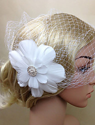 cheap -Women Fabric Hair Clip , Party Mesh / Feather Flower Veil Headpiece