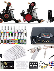cheap -Tattoo Machine Starter Kit - 2 pcs Tattoo Machines with 20 x 5 ml tattoo inks, Professional LCD power supply Case Not Included 2 cast iron machine liner & shader