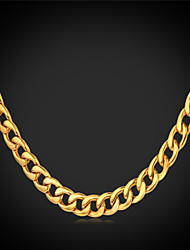cheap -Men's Chain Necklace Vintage Necklace Cuban Ladies Gothic Fashion Stainless Steel Gold Plated Black White Gold Necklace Jewelry For Wedding Party Daily Casual