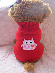 cheap -Dog Sweater Winter Dog Clothes Red / White Costume Mixed Material M L