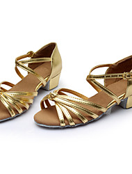 cheap -Women's Dance Shoes Silk Latin Shoes / Ballroom Shoes Buckle / Ribbon Tie Sandal Chunky Heel Customizable Silver / Brown / Gold / Suede / Indoor / Practice / Professional / EU40