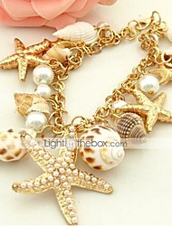 cheap -Women's Pearl Cuff Bracelet Starfish Ladies Unique Design Bohemian Fashion Boho Imitation Pearl Bracelet Jewelry Golden For Daily Casual / Shell