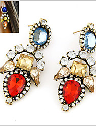 cheap -Women's Crystal Citrine Drop Earrings Dangling Dangle Statement Ladies Vintage European Fashion Colorful Earrings Jewelry Red / Pink For