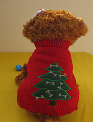 cheap -Dog Sweater Dog Clothes Green / Red Mixed Material Costume For Winter Men's Women's Christmas