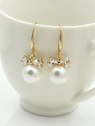 cheap -Women's Crystal Stud Earrings Drop Earrings Ladies European Fashion 18K Gold Plated Pearl Imitation Pearl Earrings Jewelry Silver / Golden For Wedding Masquerade Engagement Party Prom Promise