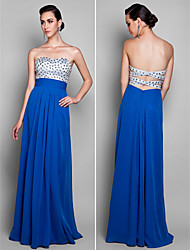 cheap -Sheath / Column Beautiful Back Prom Formal Evening Military Ball Dress Sweetheart Neckline Sleeveless Floor Length Chiffon with Ruched Beading 2021