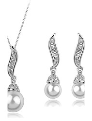 cheap -Pearl Jewelry Set Pendant Necklace Angel Wings Ladies Luxury Party Fashion Pearl Cubic Zirconia Imitation Diamond Earrings Jewelry Gold / Silver For Party Special Occasion Anniversary Birthday Gift