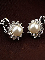 cheap -Women's Clip on Earring Earrings Flower Ladies Vintage Party Cute Pearl Rhinestone Earrings Jewelry White / Black For Wedding Daily Masquerade Engagement Party Prom