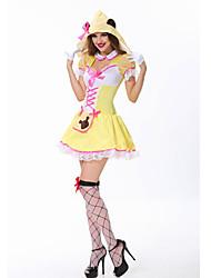 cheap -Halloween Carnival Oktoberfest Beer Dirndl Trachtenkleider Women's Skirt Dress Cap Bavarian Costume Yellow