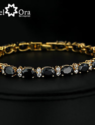 cheap -Chain Bracelet Bracelet Vintage Party Work Casual Link / Chain Cubic Zirconia Bracelet Jewelry Black For Special Occasion Birthday Gift Daily / Gold Plated