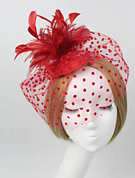 cheap -Women Fabric Hair Clip , Party Mesh / Feather Veils Headpiece
