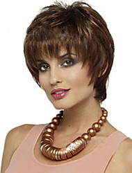 cheap -Synthetic Wig Straight Straight With Bangs Wig Short Brown Synthetic Hair Women's Side Part Brown