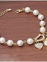 cheap -Chain Bracelet Luxury Unique Design Work Casual Fashion Pearl Bracelet Jewelry Gold / White For Party Gift Valentine / Imitation Diamond