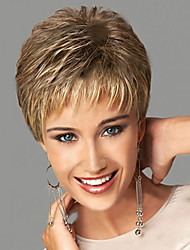 cheap -Synthetic Wig Wavy Style With Bangs Capless Wig Blonde Blonde Synthetic Hair Women's Side Part With Bangs Blonde Wig Short