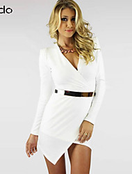 cheap -Women's Party Asymmetrical Dress - Solid Colored V Neck Fall White Black