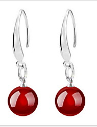 cheap -Women's Agate Drop Earrings Mood Ladies Sterling Silver Earrings Jewelry Black / Red For Wedding Party Daily Casual