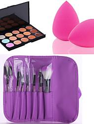 abordables -15 couleurs Correcteur / Contour Pinceaux de Maquillage Houppette Longue Durée / Correcteur / Accessoires de Maquillage Visage Maquillage Cosmétique