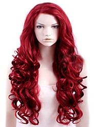 Недорогие -Парики из искусственных волос Кудрявый Боковая часть Парик Длинные Красный Искусственные волосы Жен. Высокое качество Красный
