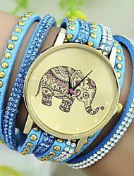 cheap -Women's Bracelet Watch Quartz Leather Black / White / Blue Imitation Diamond Analog Ladies Charm Fashion - Red Blue Pink One Year Battery Life / Tianqiu 377