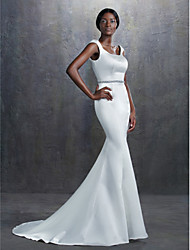 cheap -Mermaid / Trumpet Square Neck Court Train Satin Cap Sleeve Made-To-Measure Wedding Dresses with Beading / Sash / Ribbon 2020