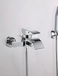 cheap -Bathtub Faucet - Contemporary Chrome Wall Mounted Ceramic Valve Bath Shower Mixer Taps / Brass / Single Handle Two Holes